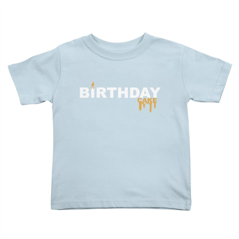 BIRTHDAY CAKE (Wht & Gld) Kids Toddler T-Shirt by More Cake?