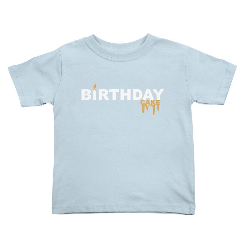 BIRTHDAY CAKE (Wht & Gld) Kids Toddler T-Shirt by More Cake?
