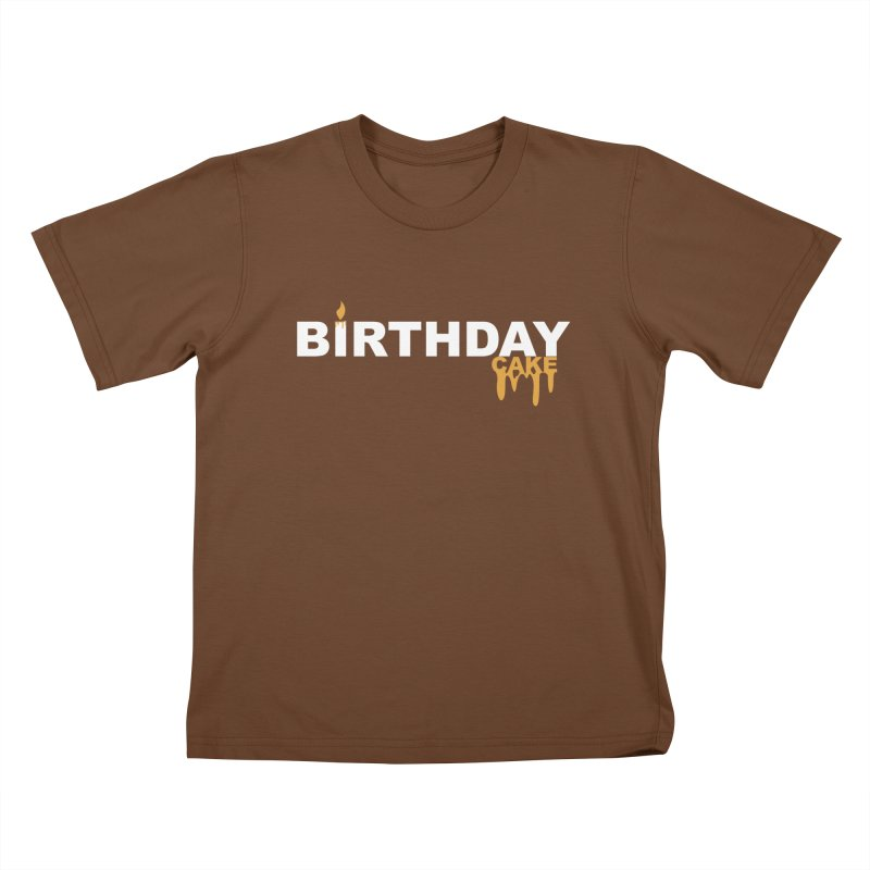BIRTHDAY CAKE (Wht & Gld) Kids T-Shirt by More Cake?