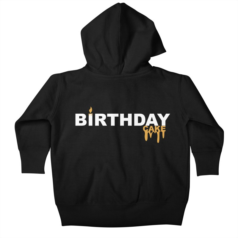 BIRTHDAY CAKE (Wht & Gld) Kids Baby Zip-Up Hoody by More Cake?