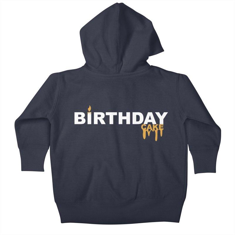 BIRTHDAY CAKE (Wht & Gld) Kids Baby Zip-Up Hoody by More Cake?