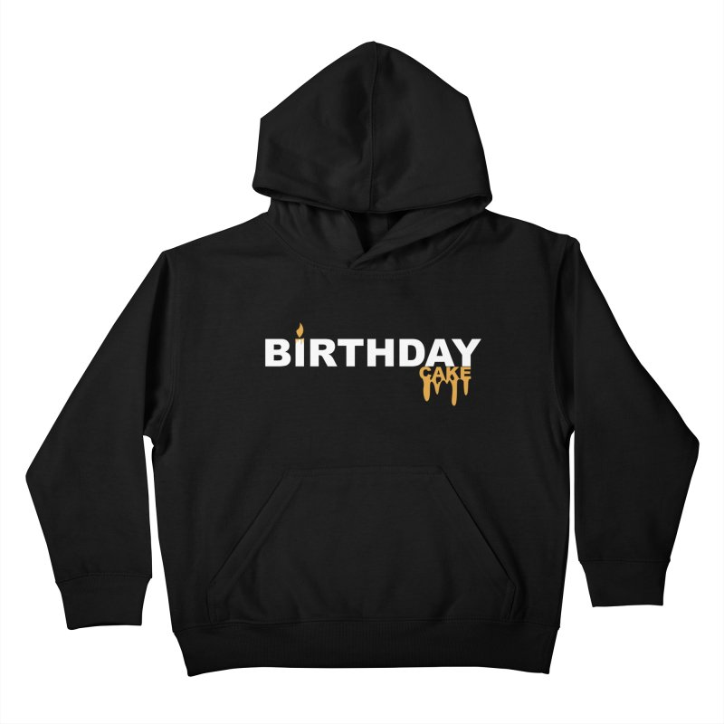 BIRTHDAY CAKE (Wht & Gld) Kids Pullover Hoody by More Cake?