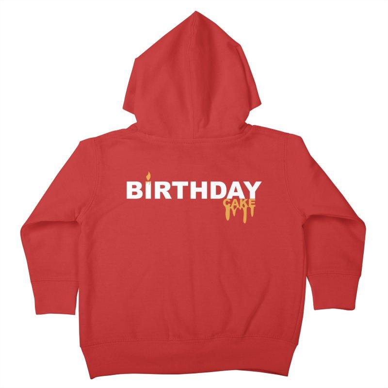 BIRTHDAY CAKE (Wht & Gld) Kids Toddler Zip-Up Hoody by More Cake?