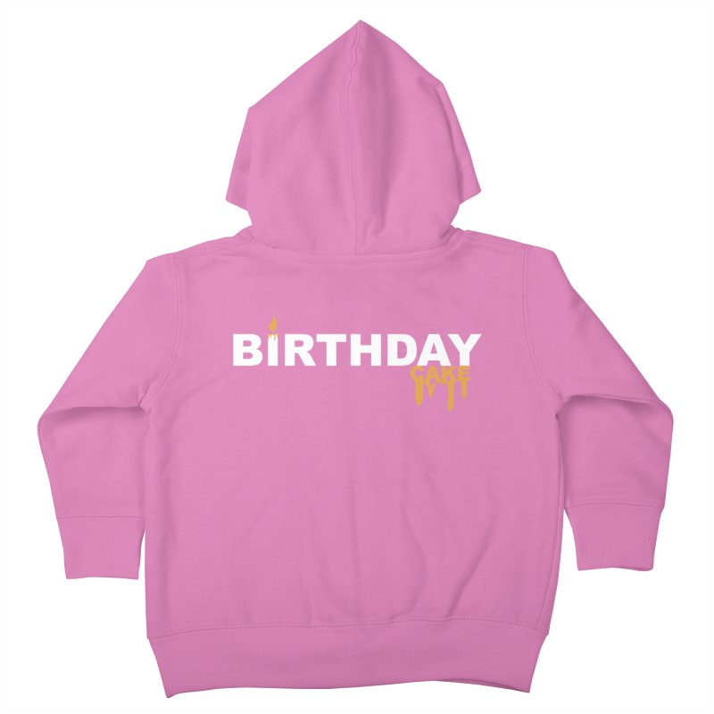 BIRTHDAY CAKE (Wht & Gld) Kids Toddler Zip-Up Hoody by More Cake?