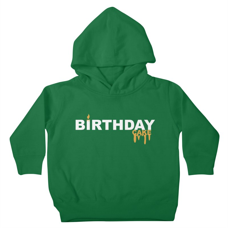 BIRTHDAY CAKE (Wht & Gld) Kids Toddler Pullover Hoody by More Cake?