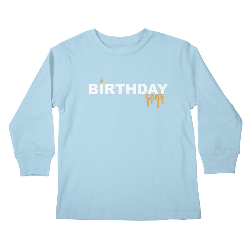 BIRTHDAY CAKE (Wht & Gld) Kids Longsleeve T-Shirt by More Cake?