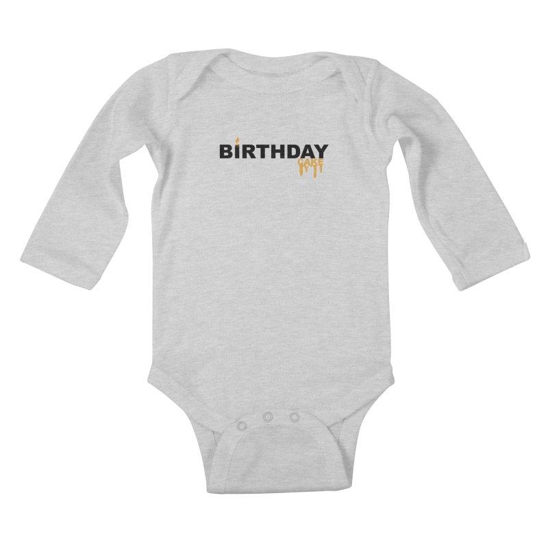 BIRTHDAY CAKE (Blk & Gld) Kids Baby Longsleeve Bodysuit by More Cake?