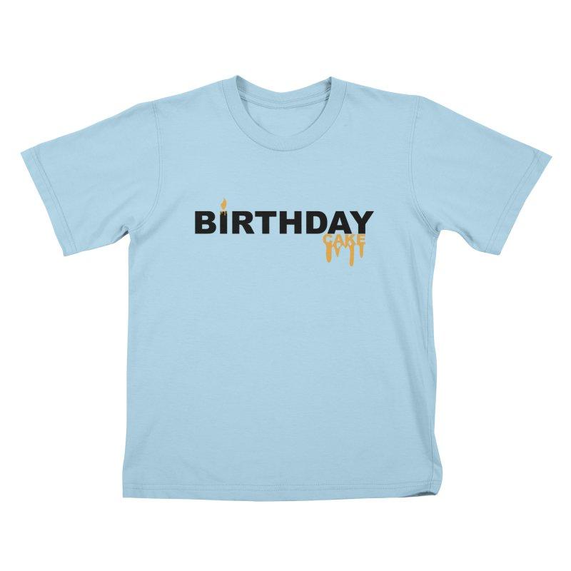BIRTHDAY CAKE (Blk & Gld) Kids T-Shirt by More Cake?