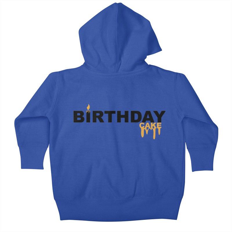 BIRTHDAY CAKE (Blk & Gld) Kids Baby Zip-Up Hoody by More Cake?