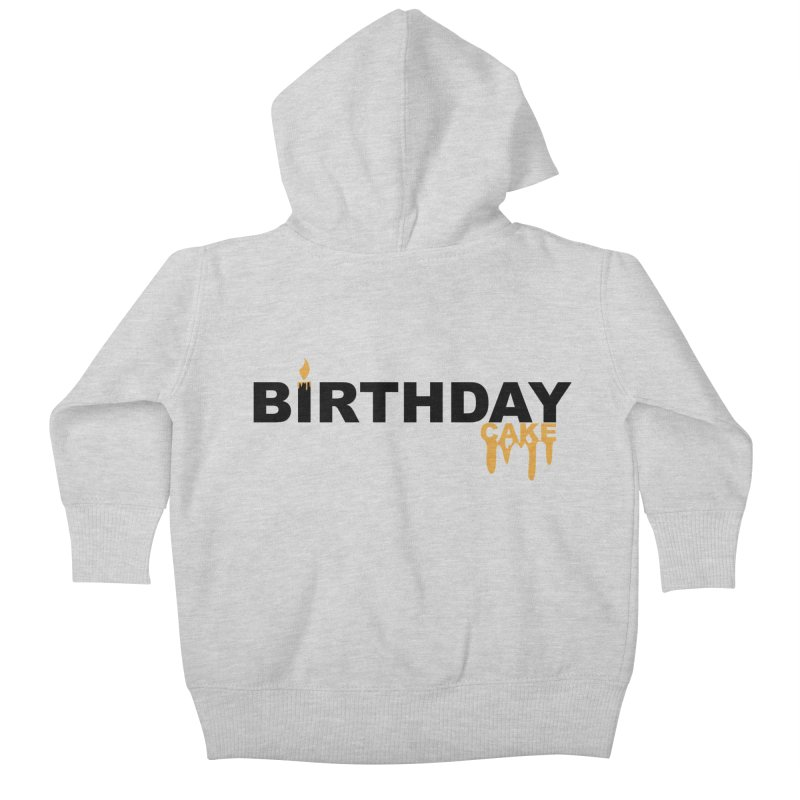 BIRTHDAY CAKE (Blk & Gld) Kids Baby Zip-Up Hoody by More Cake?