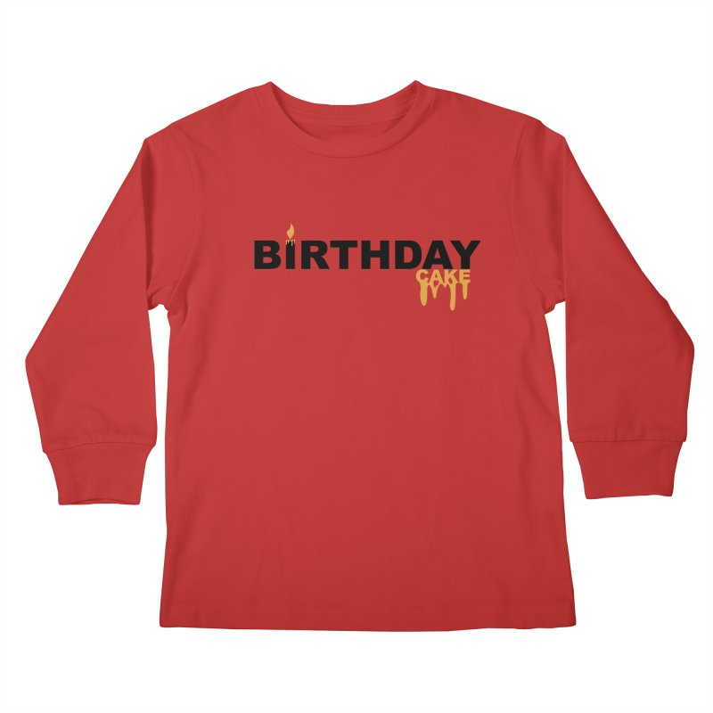 BIRTHDAY CAKE (Blk & Gld) Kids Longsleeve T-Shirt by More Cake?