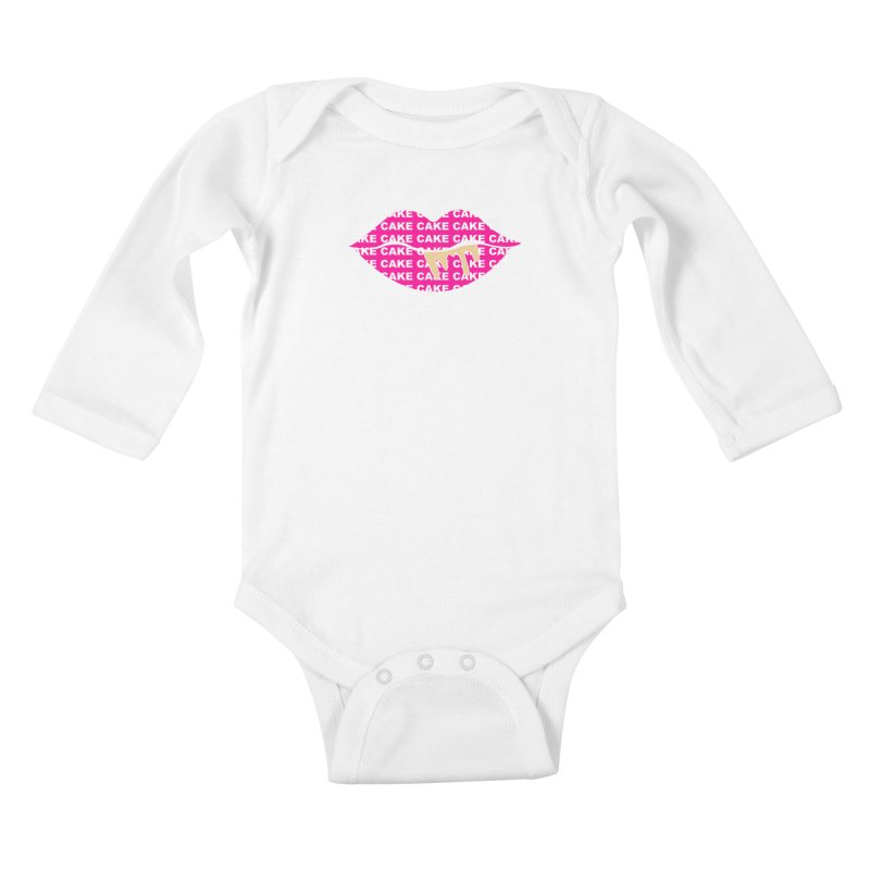 CAKE LIPS (Gld Drips) Kids Baby Longsleeve Bodysuit by More Cake?