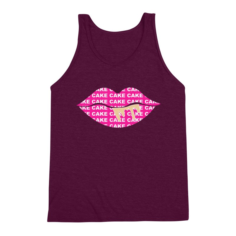 CAKE LIPS (Gld Drips) Men's Triblend Tank by More Cake?