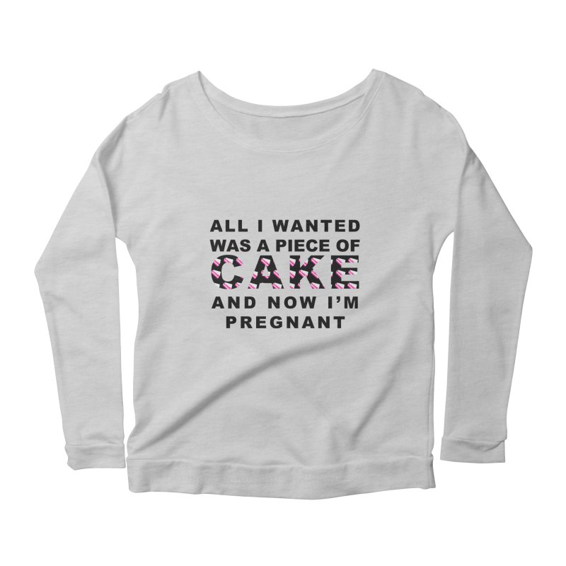 ...NOW I'M PREGNANT (Blk) Women's Scoop Neck Longsleeve T-Shirt by More Cake?