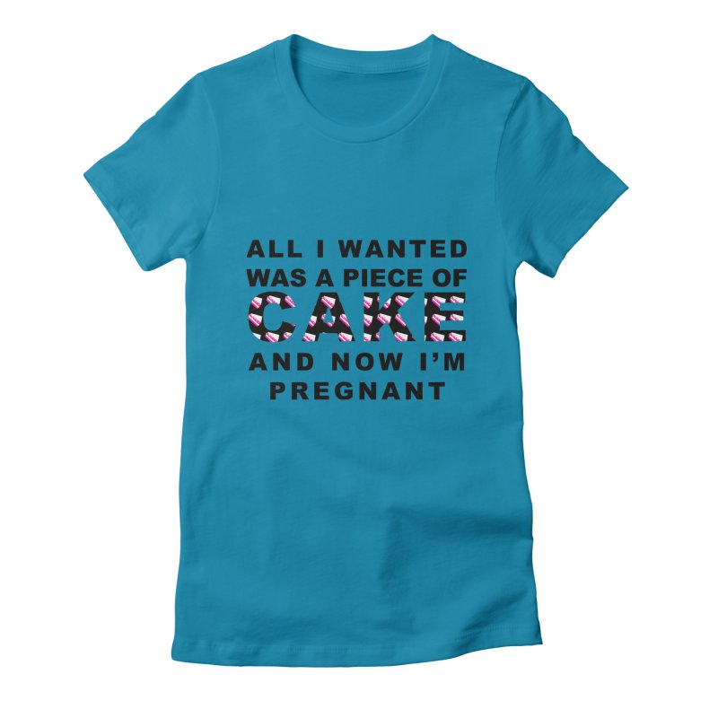 ...NOW I'M PREGNANT (Blk) Women's Fitted T-Shirt by More Cake?