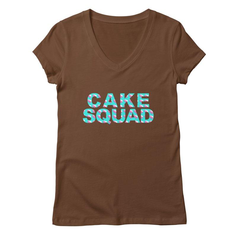 CAKE SQUAD (baby blue) Women's Regular V-Neck by More Cake?