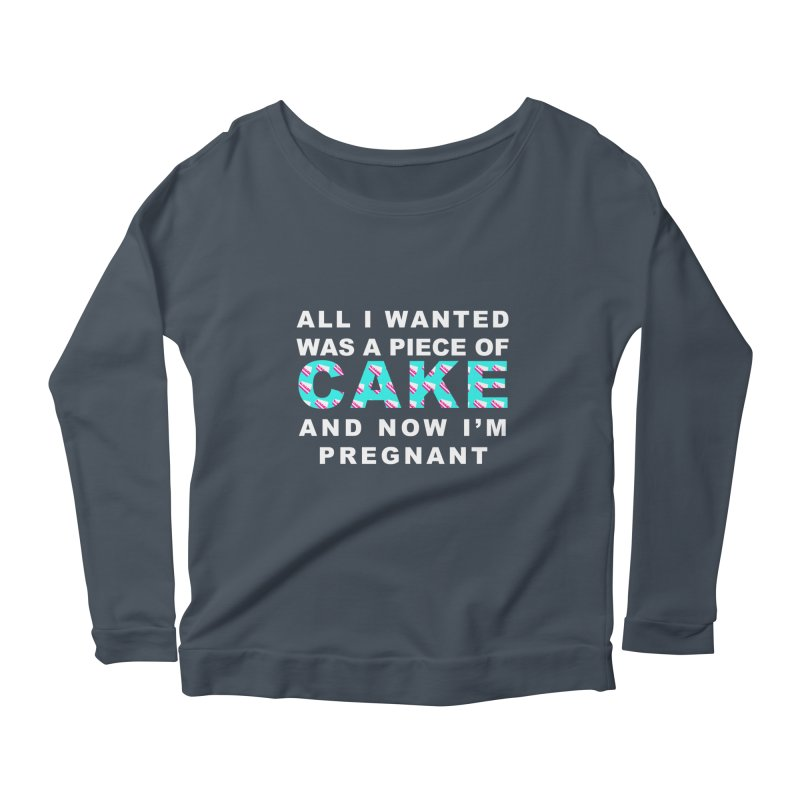 ...NOW I'M PREGNANT (baby blue) Women's Scoop Neck Longsleeve T-Shirt by More Cake?
