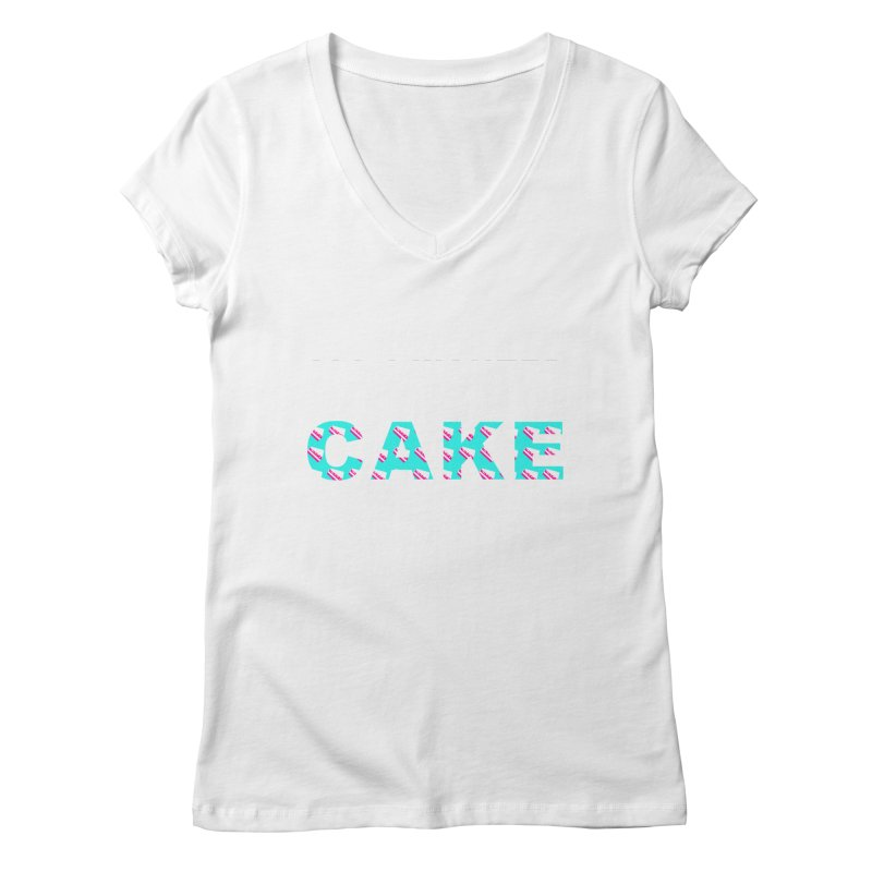 ...NOW I'M PREGNANT (baby blue) Women's V-Neck by More Cake?