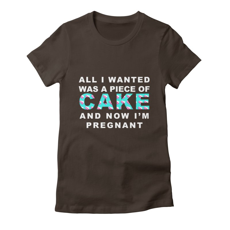 ...NOW I'M PREGNANT (baby blue) Women's Fitted T-Shirt by More Cake?