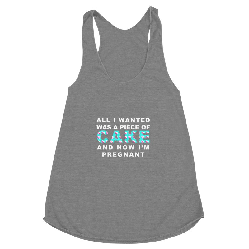 ...NOW I'M PREGNANT (baby blue) Women's Racerback Triblend Tank by More Cake?