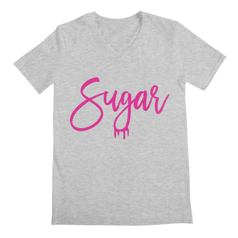 Sugar (Pink) Men's Regular V-Neck by More Cake?