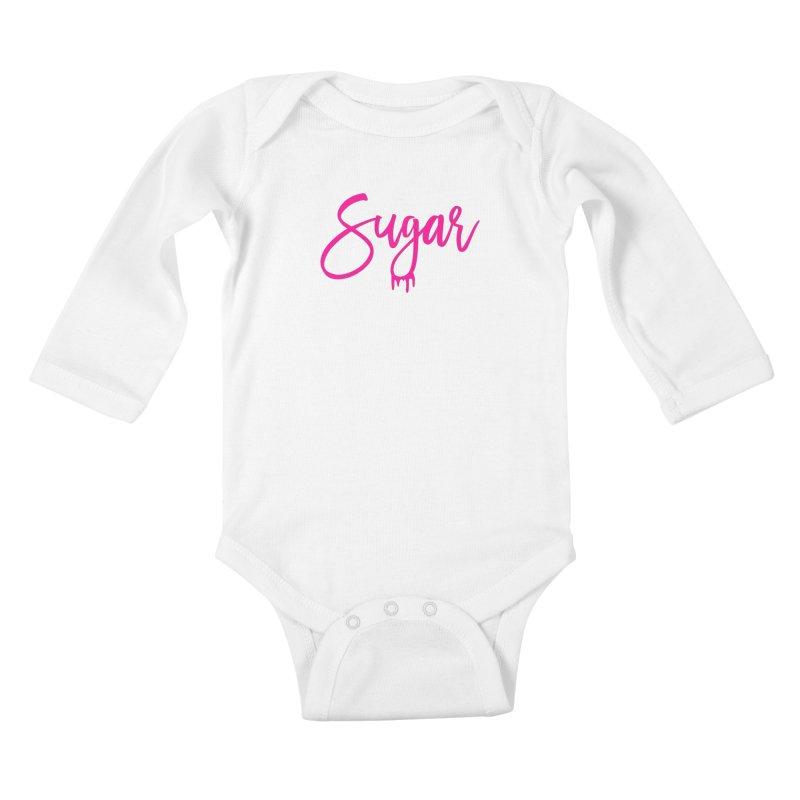 Sugar (Pink) Kids Baby Longsleeve Bodysuit by More Cake?