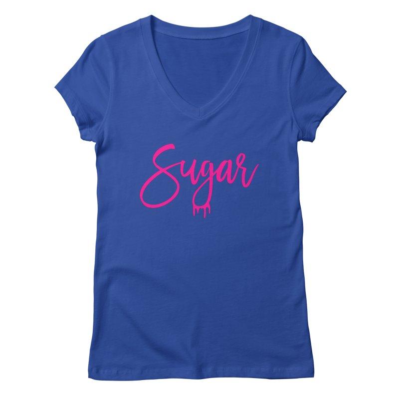 Sugar (Pink) Women's Regular V-Neck by More Cake?