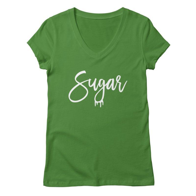 Sugar (White) Women's Regular V-Neck by More Cake?