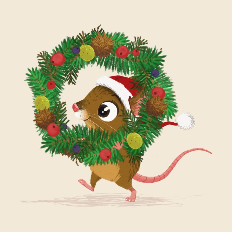 Matchstick Mouse - Christmas Wreath by morganobrienart's Artist Shop