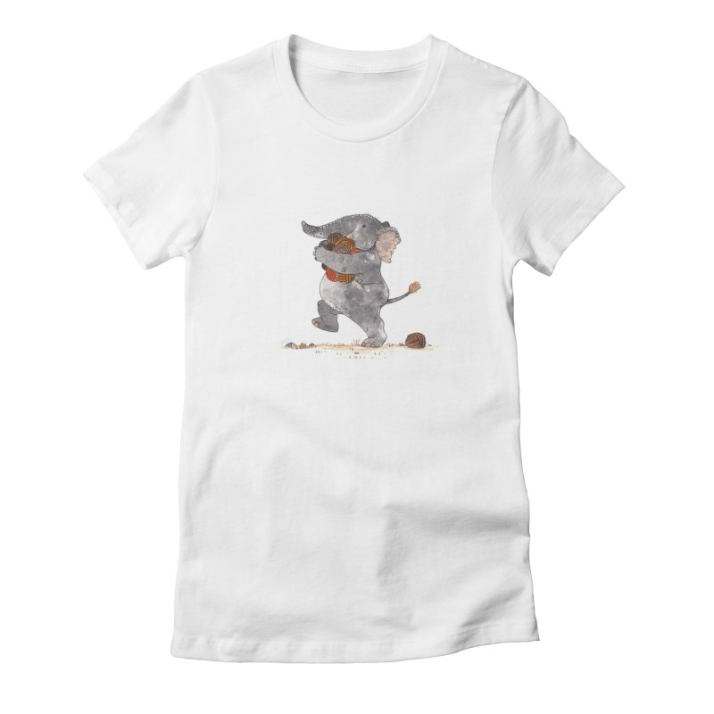 You can never have enough yarn in Women's Fitted T-Shirt White by morganobrienart's Artist Shop