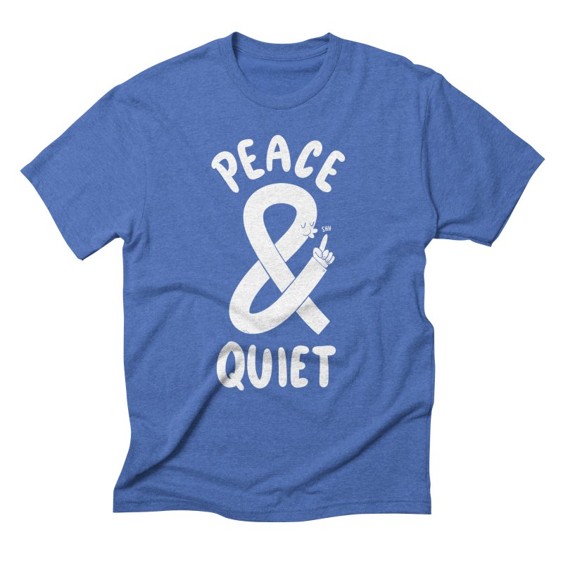 Peace & Quiet in Men's Triblend T-Shirt Blue Triblend by Morkki