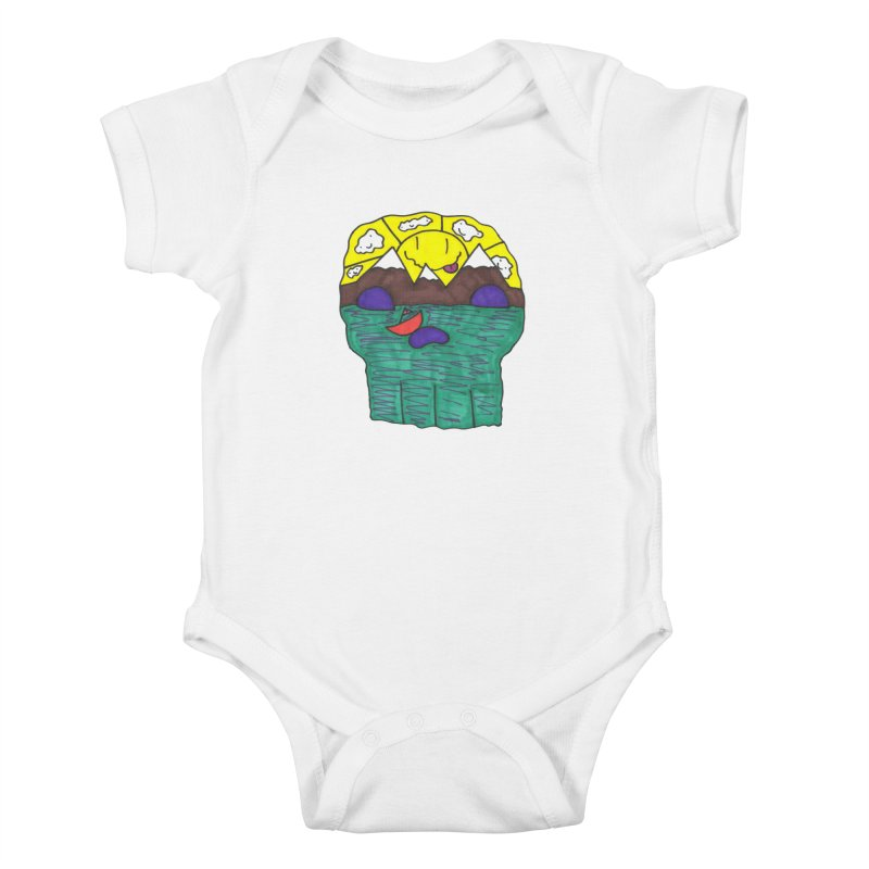 Skull Island Kids Baby Bodysuit by morningviewstudios's Artist Shop