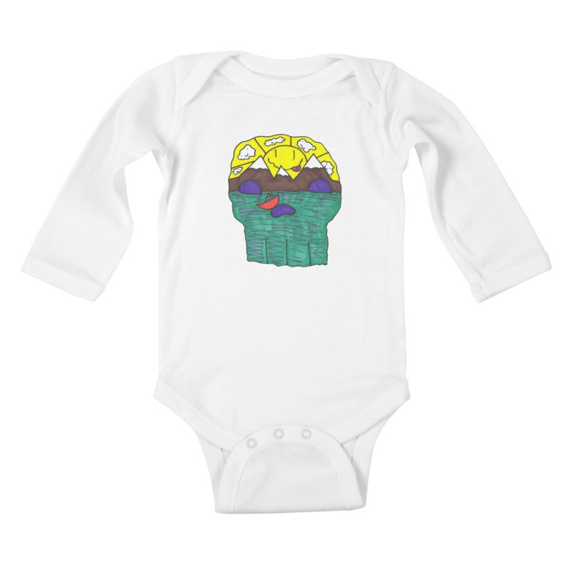 Skull Island Kids Baby Longsleeve Bodysuit by morningviewstudios's Artist Shop