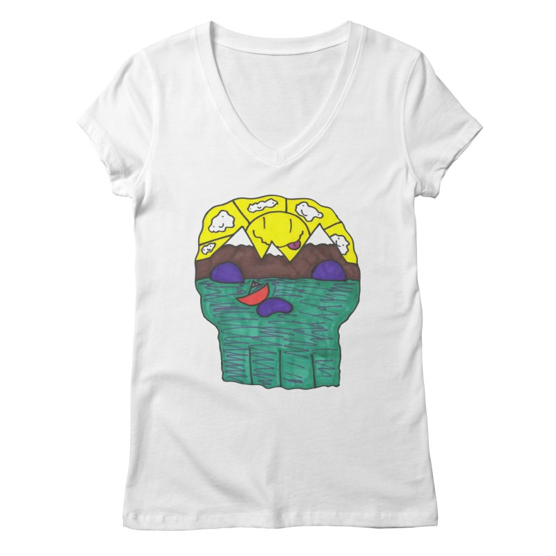 Skull Island Women's Regular V-Neck by morningviewstudios's Artist Shop