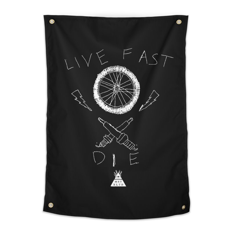 Live Fast.  Die. Home Tapestry by Thee Most Exalted T-shirt page.