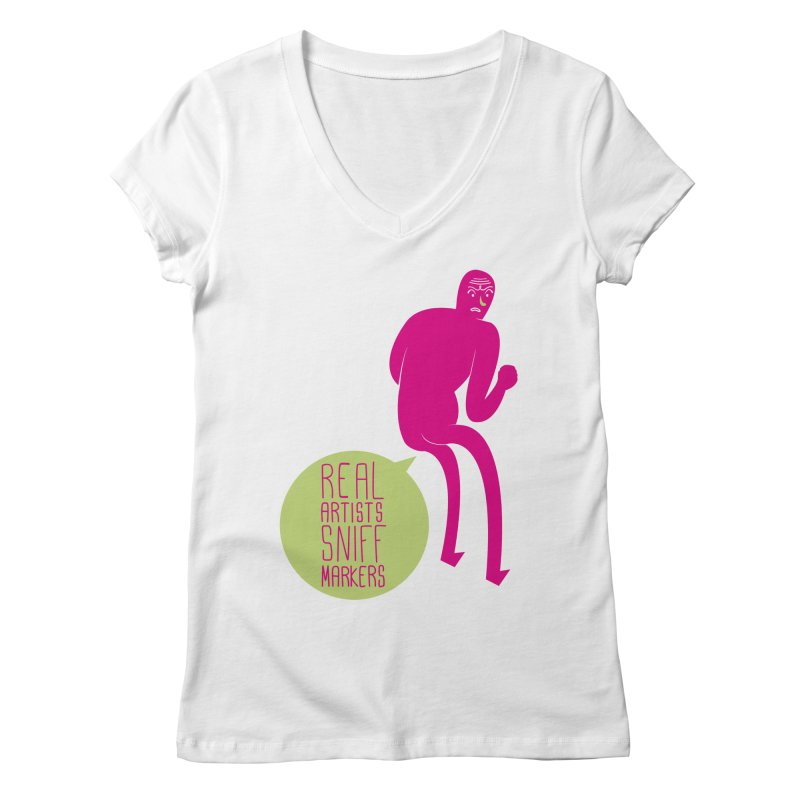 Real Artists Women's V-Neck by Most Lonely Boy's Artist Shop