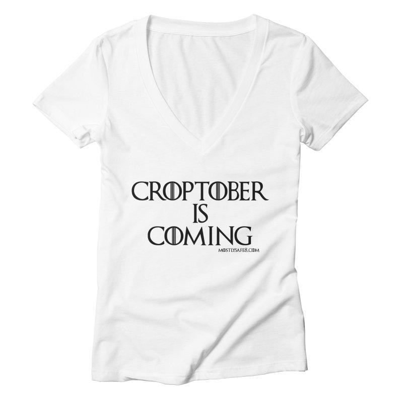 CROPTOBER IS COMING - BLACK LETTERING Women's V-Neck by MostlySAFE Webcomic Shwag