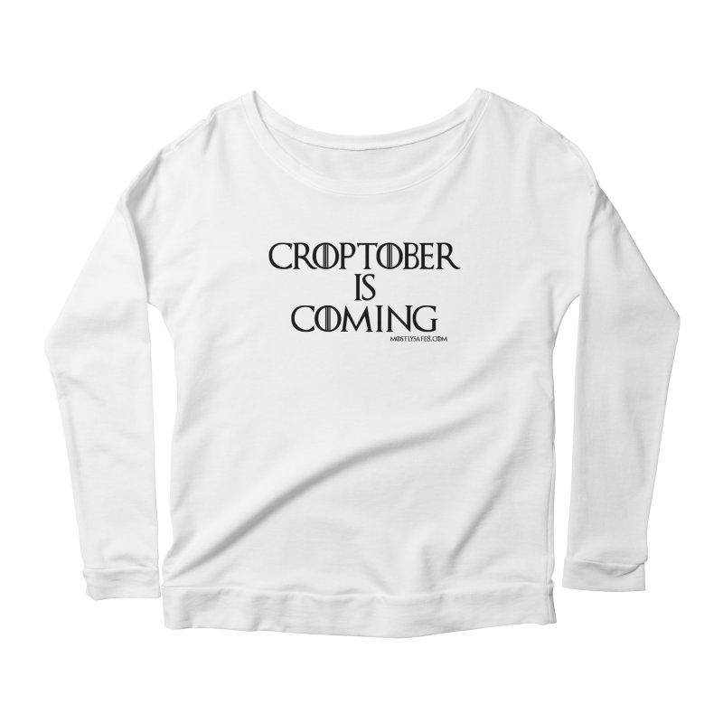CROPTOBER IS COMING - BLACK LETTERING Women's Scoop Neck Longsleeve T-Shirt by MostlySAFE Webcomic Shwag