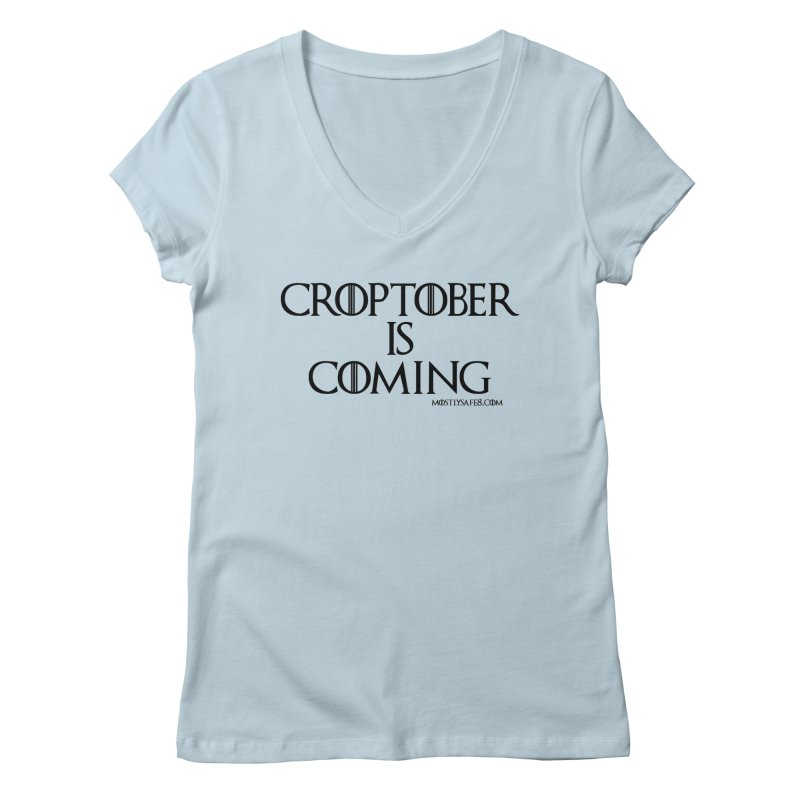 CROPTOBER IS COMING - BLACK LETTERING Women's Regular V-Neck by MostlySAFE Webcomic Shwag