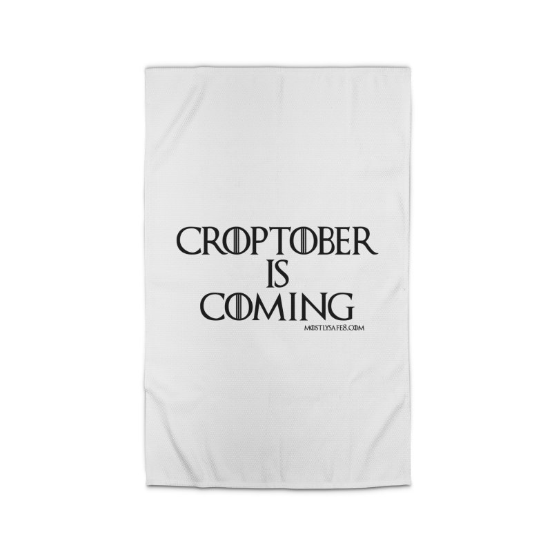 CROPTOBER IS COMING - BLACK LETTERING Home Rug by MostlySAFE Webcomic Shwag