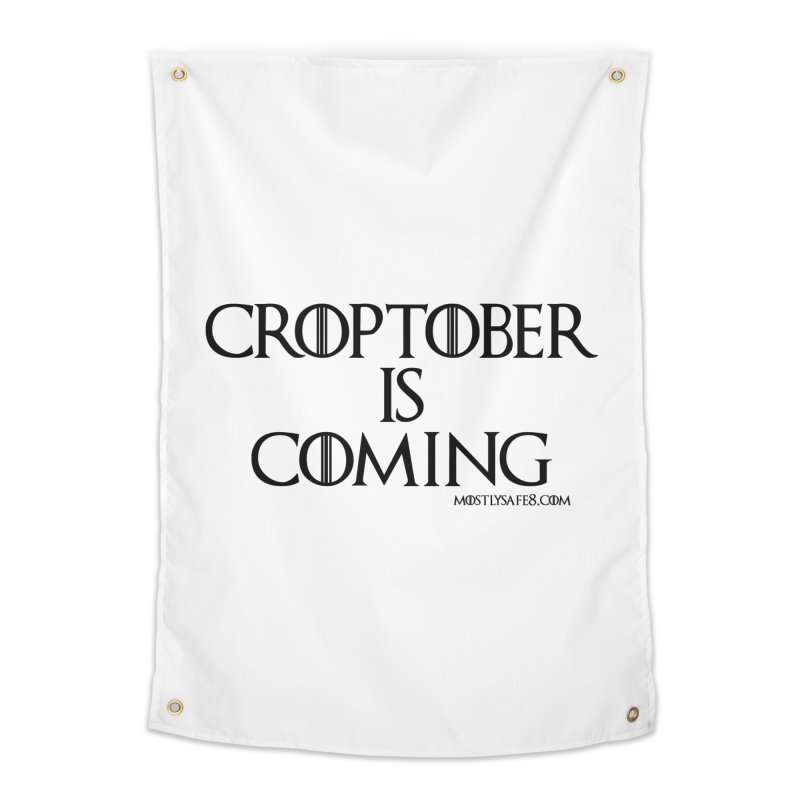 CROPTOBER IS COMING - BLACK LETTERING Home Tapestry by MostlySAFE Webcomic Shwag