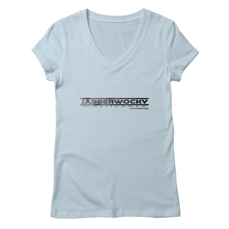 JABBERWOCKY - Black Space Bucket Logo Women's V-Neck by MostlySAFE Webcomic Shwag