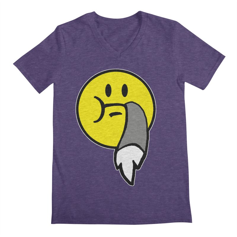 Mustache Ride Emoji Men's V-Neck by MostlySAFE Webcomic Shwag