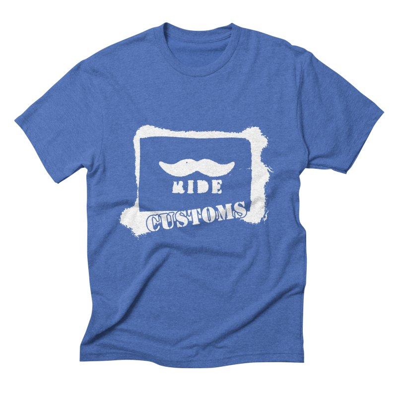 Mustache Ride Customs WHITE LOGO Men's T-Shirt by MostlySAFE Webcomic Shwag