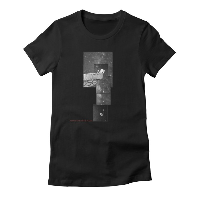 Flat Earth Cat Women's Fitted T-Shirt by MostlySAFE Webcomic Shwag