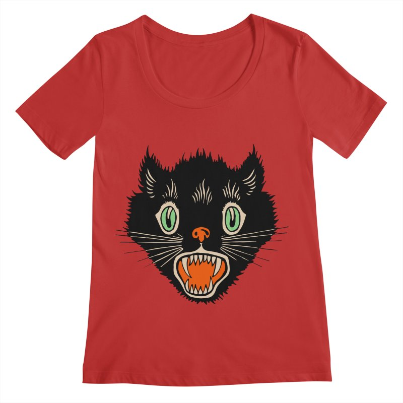 The Evil Cucumber Scared my Cat Women's Regular Scoop Neck by mostro's Artist Shop