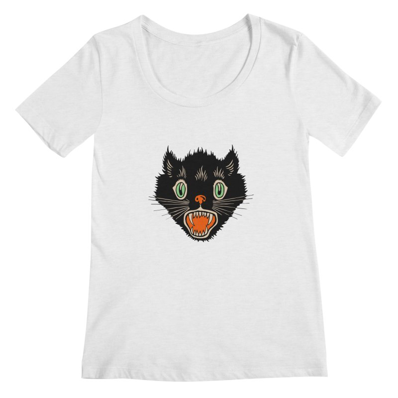 The Evil Cucumber Scared my Cat Women's Scoopneck by mostro's Artist Shop