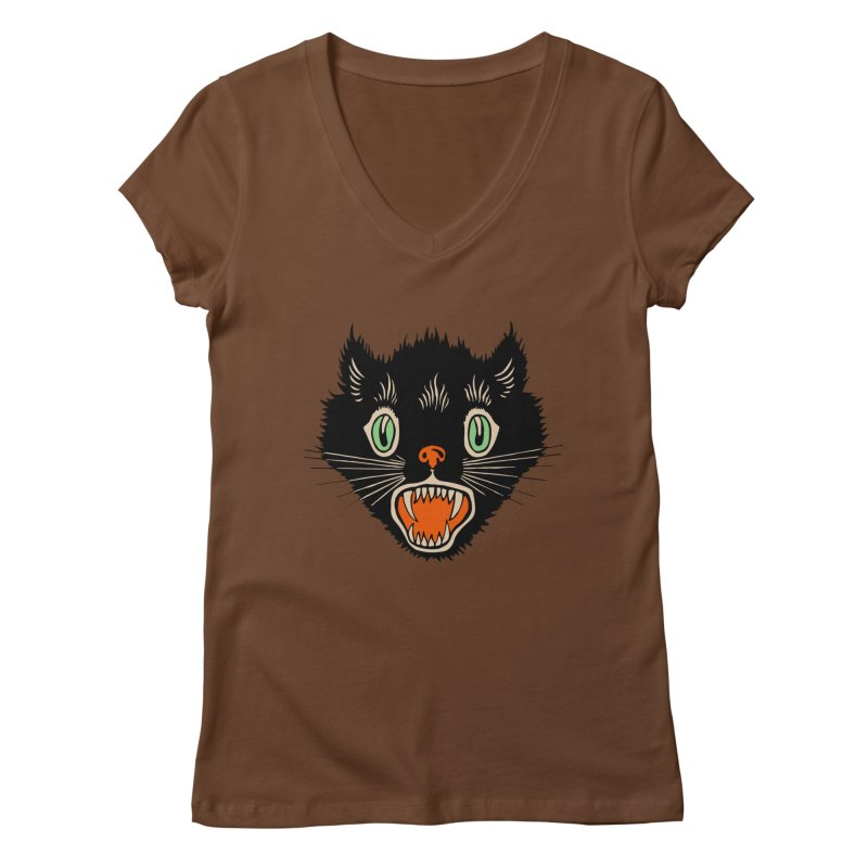 The Evil Cucumber Scared my Cat Women's Regular V-Neck by mostro's Artist Shop