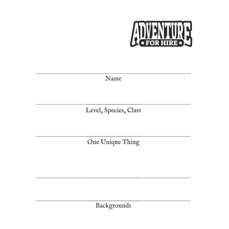 """Adventure For Hire """"Character Sheet"""" by Most of Dust shop"""