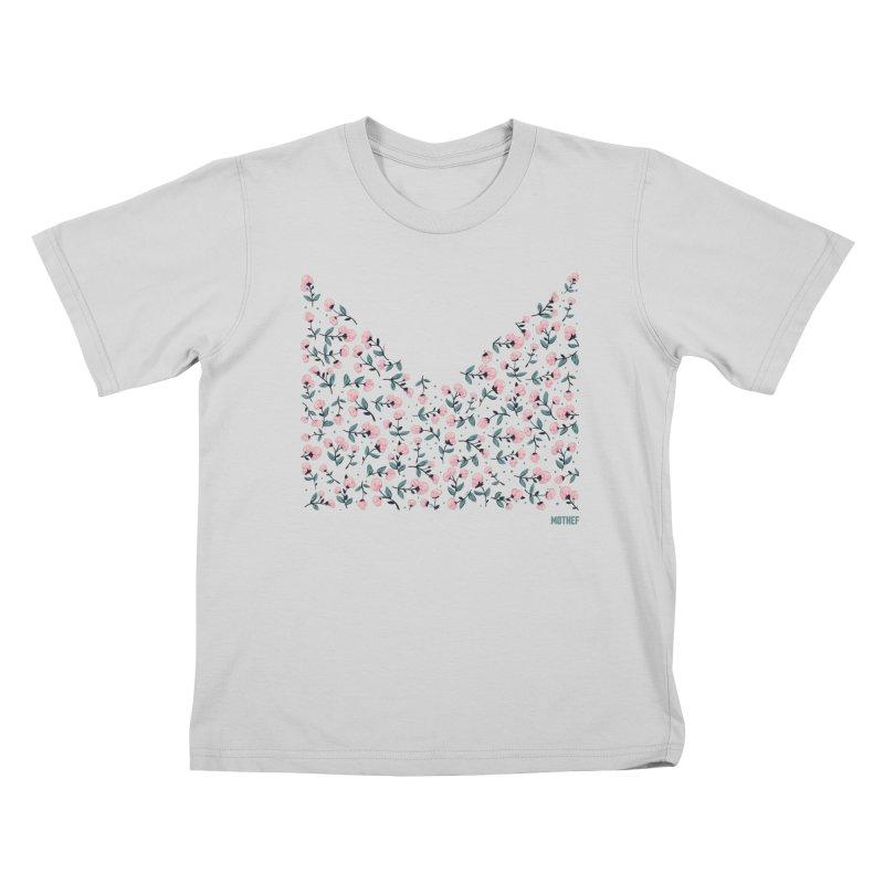 Skull Flowers Kids T-Shirt by Mothef